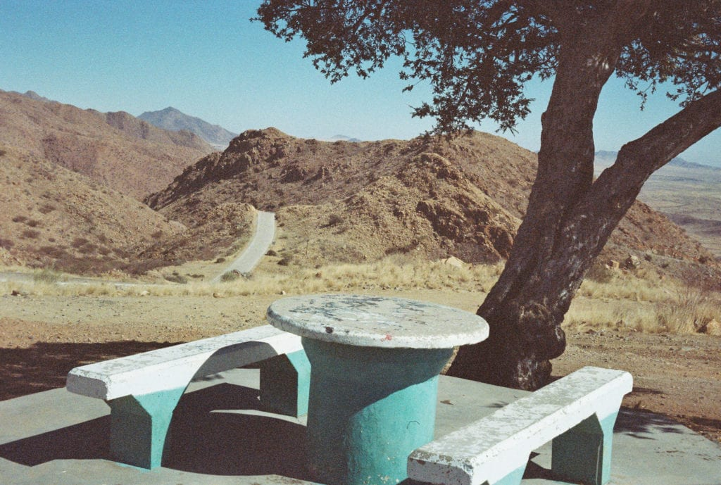 Namibia, desert picnic, lay by