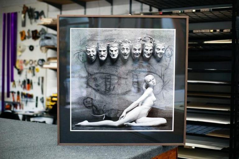 Roger Ballen, Roger Ballen photograph framed, walnut frame profile, archival mounting